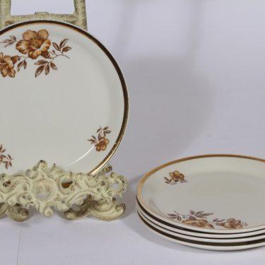 Arabia Myrna lautaset, 5 kpl, suunnittelija Olga Osol, pieni, serikuva, kukka-aihe
