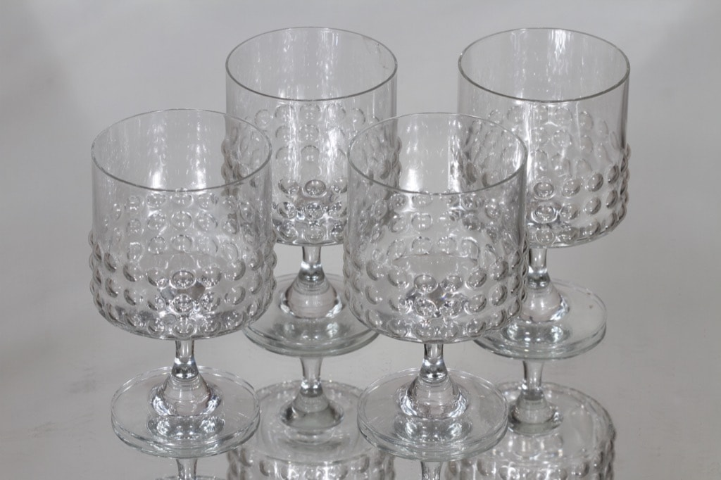 Riihimäen lasi Grappo punaviinilasit, kirkas, 4 kpl, suunnittelija Nanny Still,