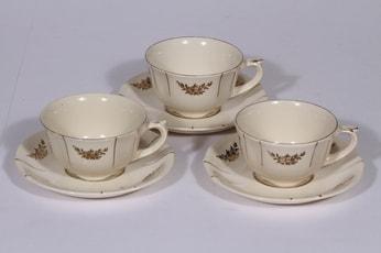 Arabia Irja kahvikupit, 3 kpl, suunnittelija , painettu, kultakoriste