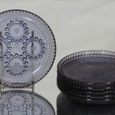 Riihimäen lasi Grapponia lautaset, siniharmaa, 6 kpl, suunnittelija Nanny Still, pieni