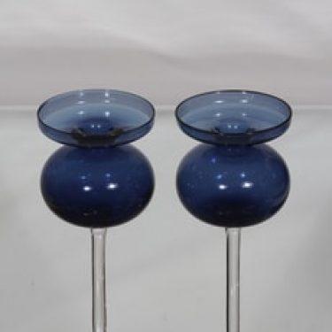 Iittala 2660 kynttilänjalat, sininen|kirkas, 2 kpl, suunnittelija Erkki Vesanto,