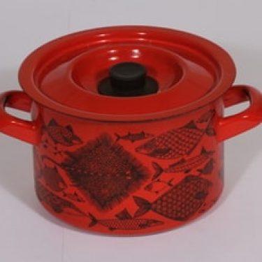 Finel Neptun kattila, punainen, suunnittelija Esteri Tomula, serikuva, retro