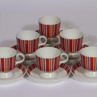 Arabia Venla kahvikupit, 6 kpl, suunnittelija , serikuva, raitakoriste, retro