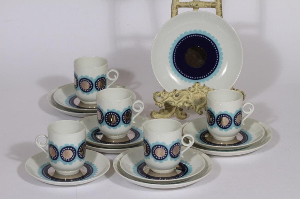 Arabia Tanja kahvikupit ja lautaset, sininen, 5 kpl, suunnittelija , serikuva