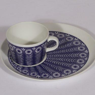 Arabia Riikinkukko kuppi ja erikoislautanen, sininen, suunnittelija , serikuva