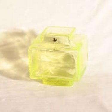 Riihimäen lasi Palkki lasimaljakko, keltainen, suunnittelija Helena Tynell,