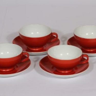 Arabia Punahilkka kahvikupit, värilasite, 4 kpl, suunnittelija , värilasite