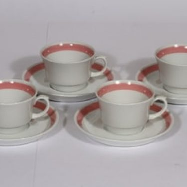 Arabia Punavalko kahvikupit, 4 kpl, suunnittelija , raitakoriste