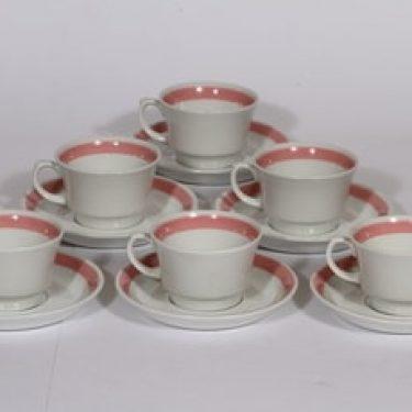 Arabia Punavalko kahvikupit, 6 kpl, suunnittelija , raitakoriste