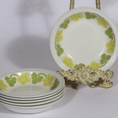 Arabia Sanna lautaset, syvä, 6 kpl, suunnittelija , syvä, serikuva, retro