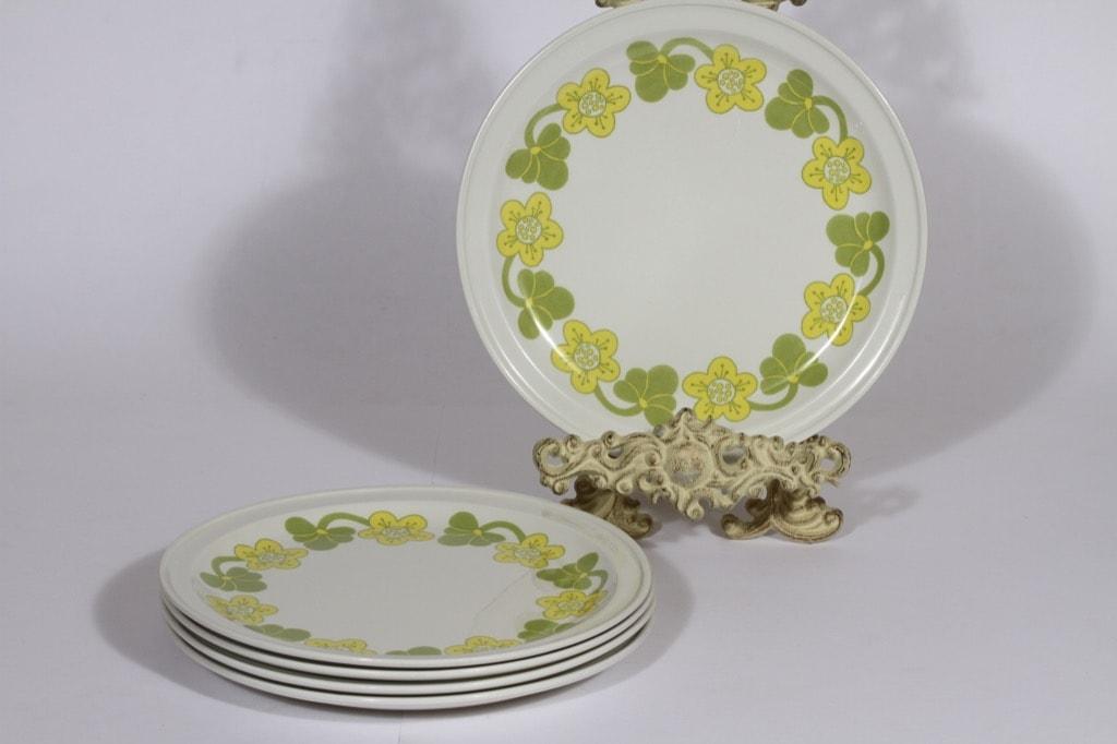 Arabia Sanna lautaset, matala, 5 kpl, suunnittelija , matala, serikuva, retro