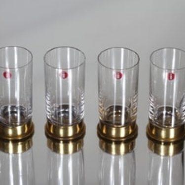 Iittala Caliber snapsilasit, 4 cl, 4 kpl, suunnittelija Valto Kokko, 4 cl, messinkihylsy