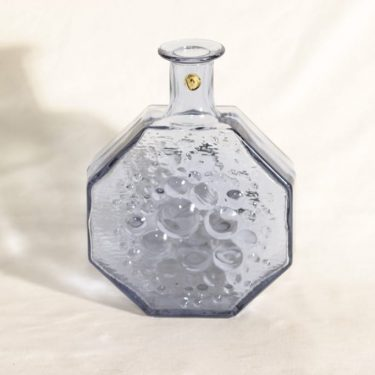 Riihimäen lasi Stella Polaris koristepullo, siniharmaa, suunnittelija Nanny Still,