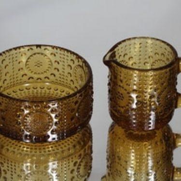 Riihimäen lasi Grapponia sokerikko ja kermakko, amber, suunnittelija Nanny Still,