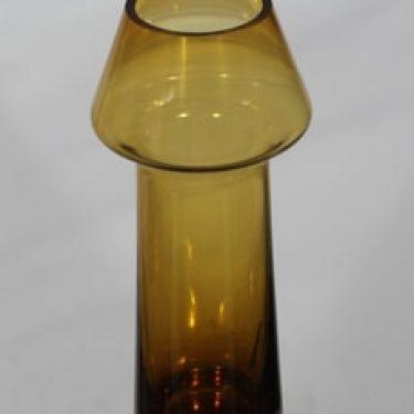 Riihimäen lasi Stromboli maljakko, ruskea, suunnittelija Aimo Okkolin,