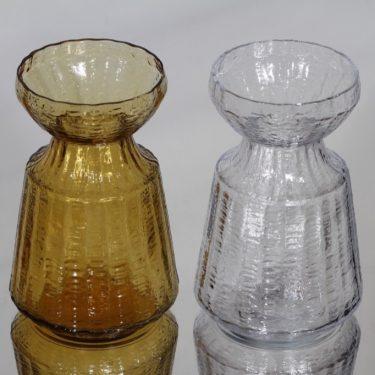 Riihimäen lasi Hyasintti maljakot, amberkirkas, 2 kpl, suunnittelija Tamara Aladin, pieni