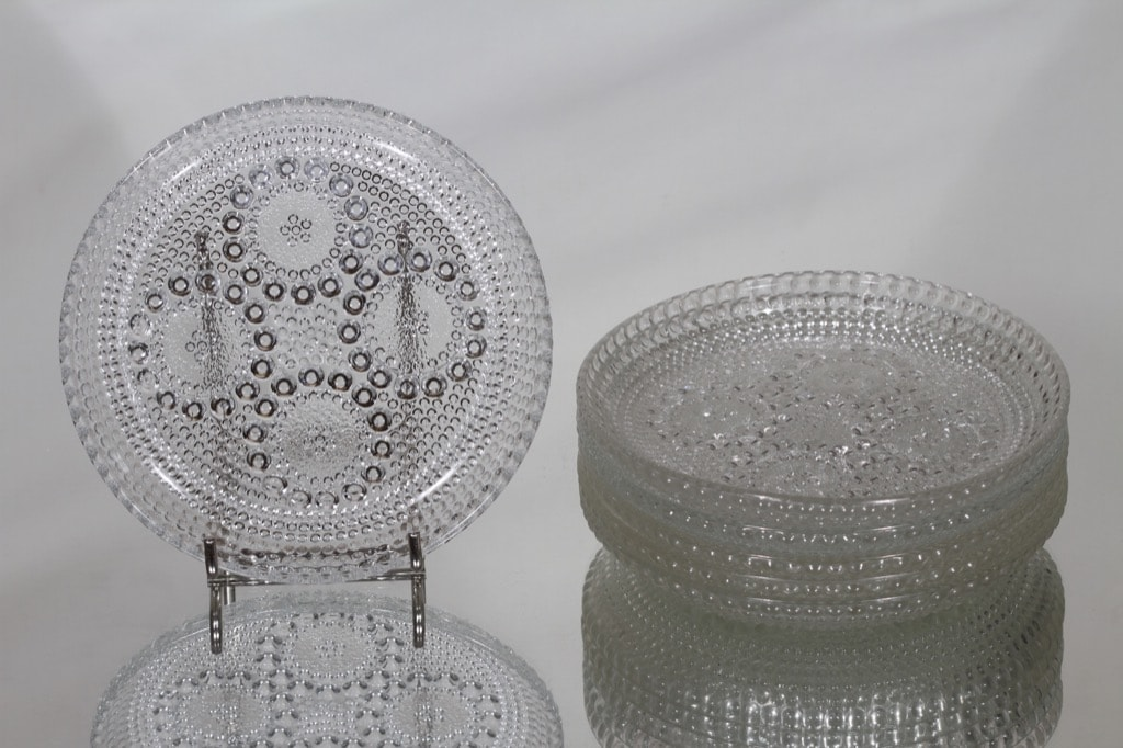 Riihimäen lasi Grapponia lautaset, kirkas, 6 kpl, suunnittelija Nanny Still, pieni