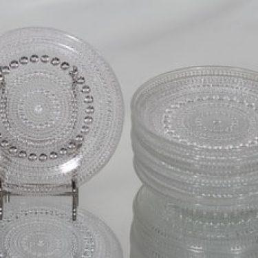 Nuutajärvi Kastehelmi lautaset, kirkas, 8 kpl, suunnittelija Oiva Toikka, pieni