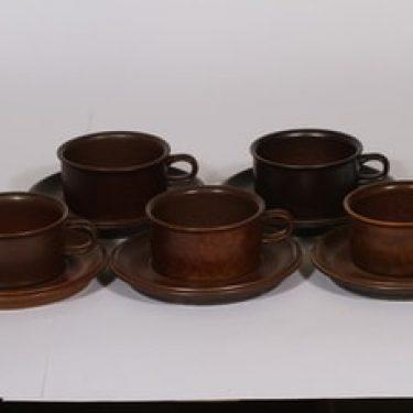 Arabia Ruska teekupit, ruskea lasite, suunnittelija Ulla Procope,