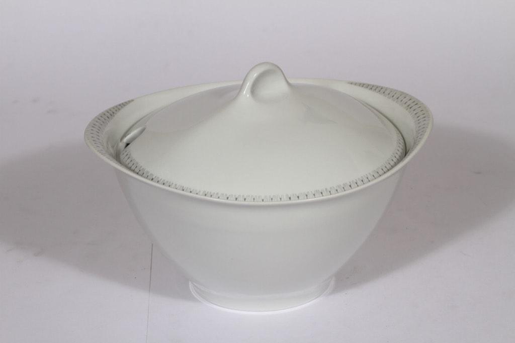 Arabia Kaisla soup bowl, gray, designer Raija Uosikkinen, big, copper ornament
