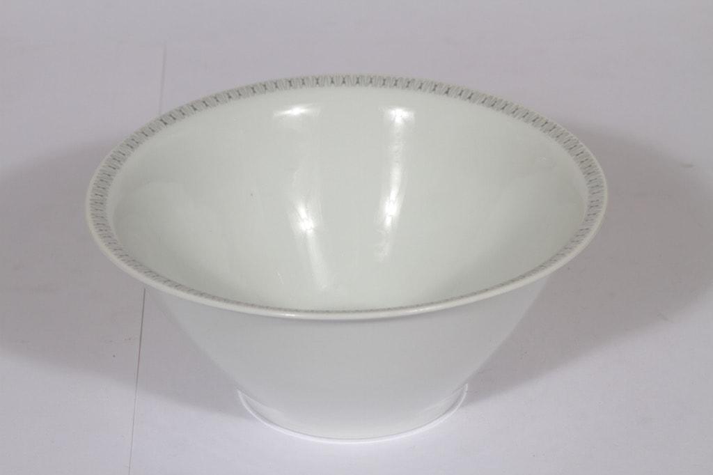 Arabia Kaisla bowl, gray, designer Raija Uosikkinen, big, copper ornament