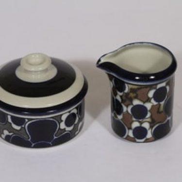 Arabia Saara sokerikko ja kermakko, sininen, suunnittelija Anja Jaatinen-Winquist, puhalluskoriste, retro