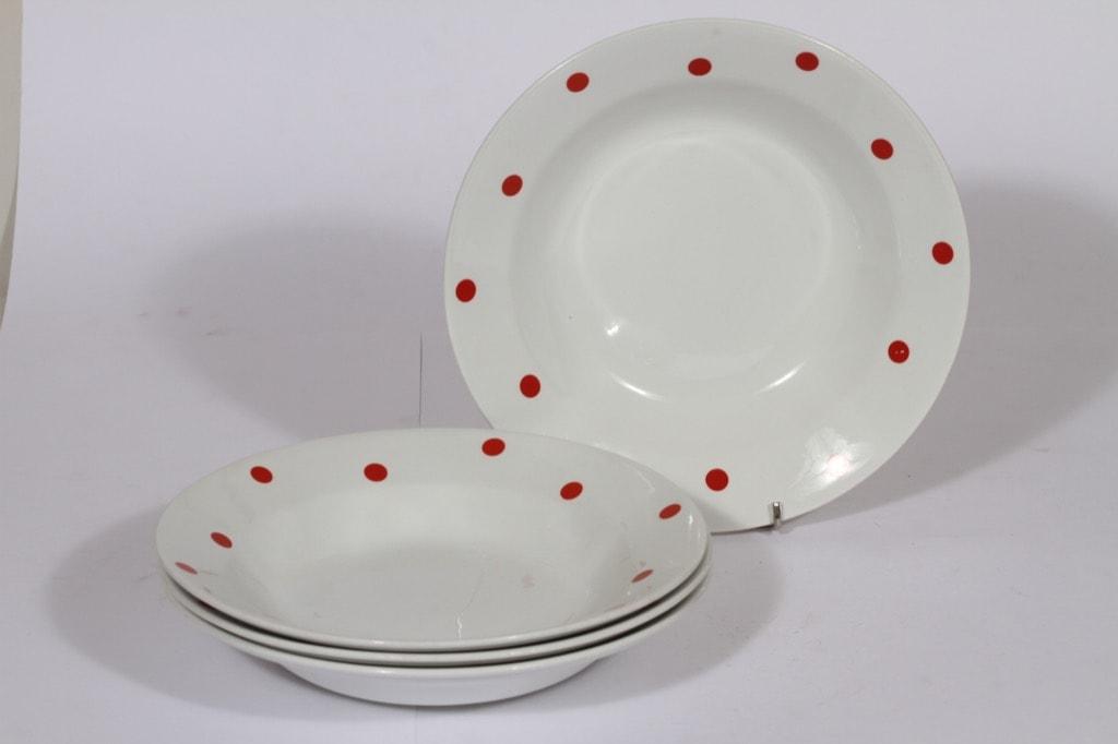 Arabia Ping Pong lautaset, syvä, 4 kpl, suunnittelija Raija Uosikkinen, syvä, serikuva, retro
