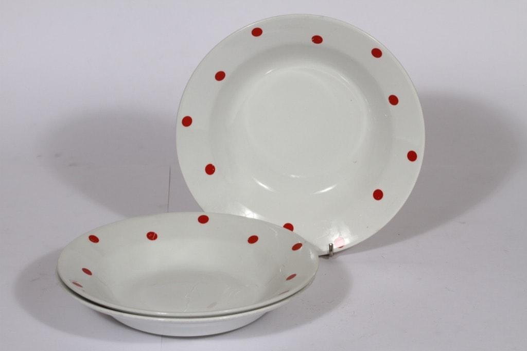 Arabia Ping Pong lautaset, syvä, 3 kpl, suunnittelija Raija Uosikkinen, syvä, serikuva, retro
