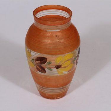 Kauklahden lasi maljakko, käsinmaalattu, suunnittelija , käsinmaalattu, kukka-aihe