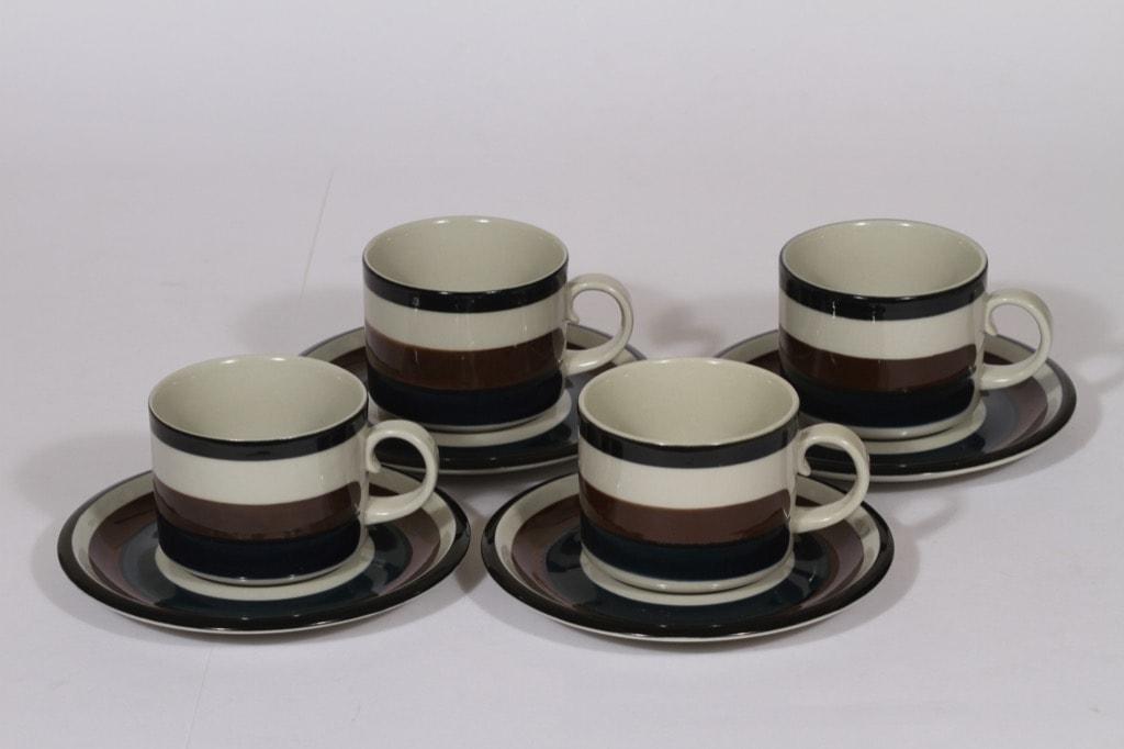 Arabia Kaira teekupit, 25 cl, 4 kpl, suunnittelija Inkeri Seppälä, 25 cl, käsinmaalattu, raitakoriste