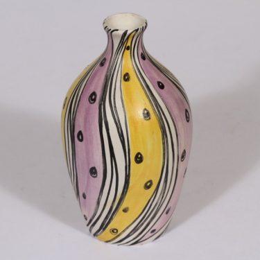 Kupittaan savi maljakko, käsinmaalattu, suunnittelija Laila Zink, käsinmaalattu, signeerattu, retro