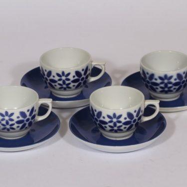 Arabia Armi kahvikupit, sininen, 4 kpl, suunnittelija Greta-Lisa Jäderholm-Snellman, puhalluskoriste