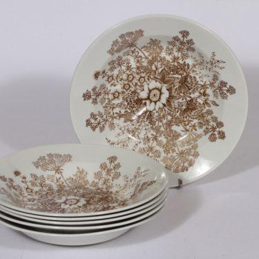 Arabia Puketti lautaset, syvä, 6 kpl, suunnittelija Raija Uosikkinen, syvä, kuparipainokoriste
