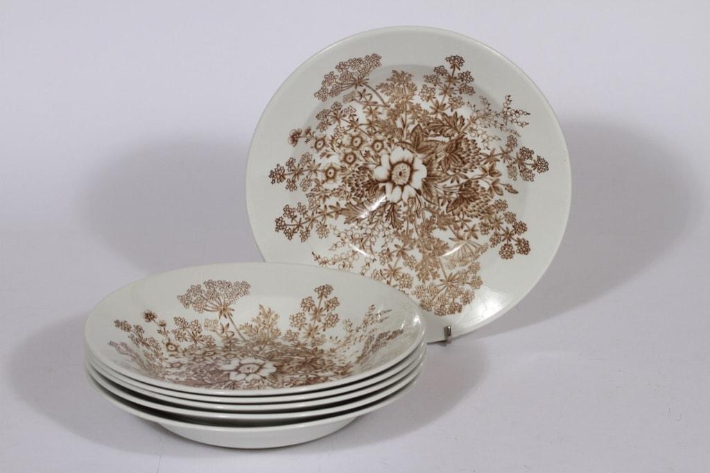 Arabia Puketti soup plates, 6 pcs, designer Raija Uosikkinen, copper ornament