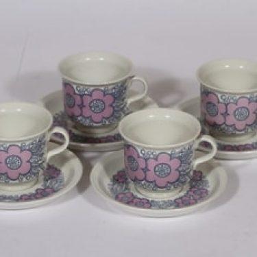 Arabia Violetta kahvikupit, vaaleanpunainen, 4 kpl, suunnittelija Raija Uosikkinen, serikuva, retro