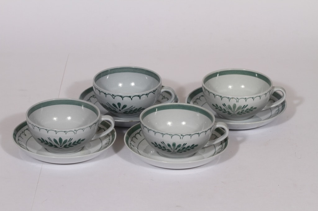Arabia Green Thistle tea cup, hand-painted, 4 pcs