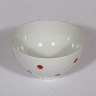 Arabia Ping Pong kulho, punainen, suunnittelija Raija Uosikkinen, pieni, serikuva, retro