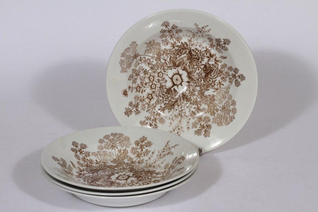 Arabia Puketti lautaset, syvä, 4 kpl, suunnittelija Raija Uosikkinen, syvä, kuparipainokoriste