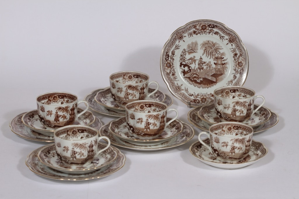 Arabia Singapore coffee cup, saucer and plate, brown, 6 pcs, oriental theme