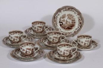Arabia Singapore kahvikupit ja lautaset, ruskea, 6 kpl, suunnittelija , kuparipainokoriste, itämainen aihe