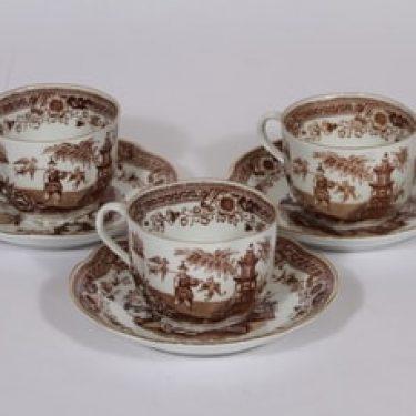 Arabia Singapore kahvikupit 3 kpl, ruskea, 3 kpl, suunnittelija , itämainen aihe