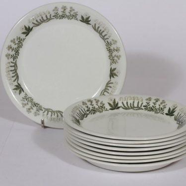 Arabia Polaris lautaset, 9 kpl, suunnittelija Raija Uosikkinen, matala, pieni, serikuva