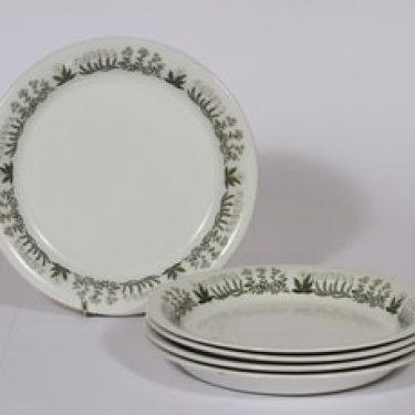 Arabia Polaris lautaset, 5 kpl, suunnittelija Raija Uosikkinen, matala, serikuva