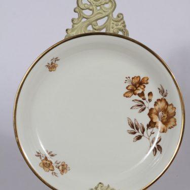 Arabia Myrna leivosvati, suunnittelija , kullattu, kukka-aihe