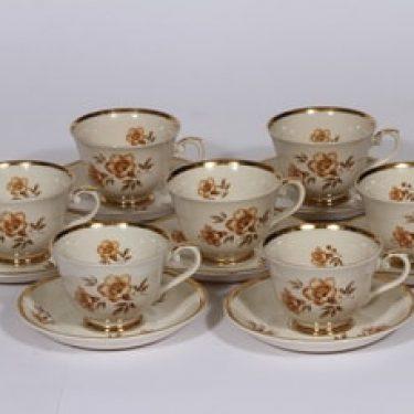 Arabia Myrna kahvikupit, 6 kpl, suunnittelija , 6 kpl, serikuva, kullattu, kukka-aihe