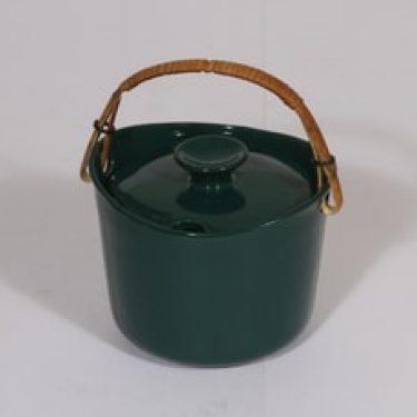 Arabia koristelematon marmeladirasia, vihreä lasite, suunnittelija , pieni