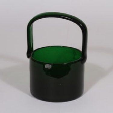 Nuutajärvi Sargasso lasikori, vihreä, suunnittelija Kaj Franck, signeerattu