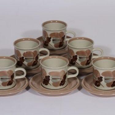 Arabia Koralli kahvikupit, käsinmaalattu, 6 kpl, suunnittelija Ulla Procope, käsinmaalattu, kukka-aihe