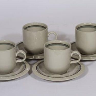 Arabia Airisto kahvikupit, 28 cl, 4 kpl, suunnittelija Inkeri Leivo, 28 cl, raitakoriste
