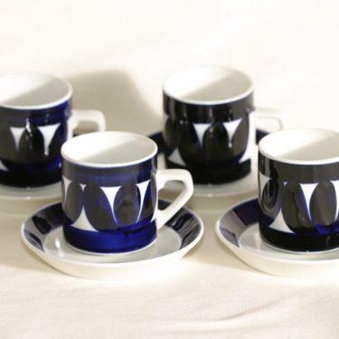 Arabia Sotka kahvikupit, käsinmaalattu, 4 kpl, suunnittelija Raija Uosikkinen, käsinmaalattu